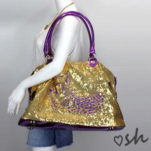 Betsey Johnson Betseyville Gold Sequin Duffle Bag